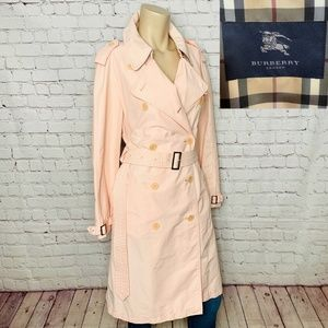 BURBERRY LONDON Light Pink Belted Trench Coat 14R